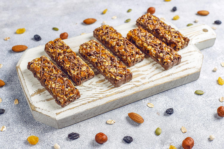 Healthy delicios granola bars with chocolate,muesli bars with nu